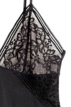 Microfibre and lace nightslip - Black - Ladies | H&M 3