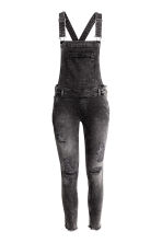 Trashed dungarees - Black washed out - Ladies | H&M CN 2