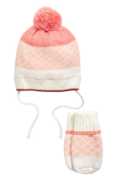 Hat and mittens - Powder pink - Kids | H&M CN 1