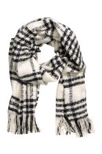 Large scarf - White/Checked - Ladies | H&M CN 1
