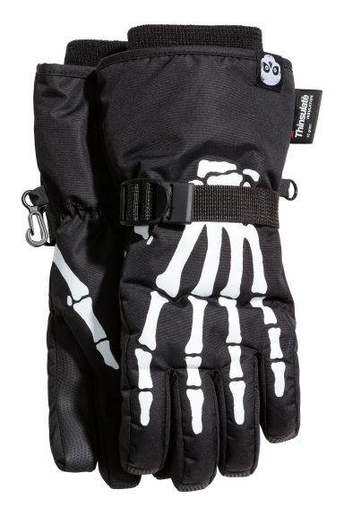 Printed ski gloves - Black/Skeleton - Kids | H&M CN 1
