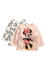2-pack long-sleeved tops - Powder pink/Minnie Mouse - Kids | H&M CN 1