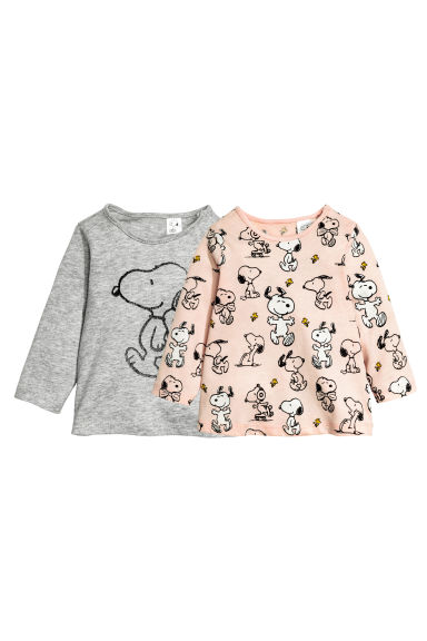 2-pack long-sleeved tops - Grey/Snoopy - Kids | H&M CN 1