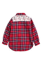 Flannel shirt with lace - Red/Checked - Kids | H&M CN 3