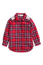 Flannel shirt with lace - Red/Checked - Kids | H&M CN 2