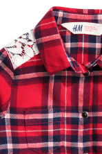 Flannel shirt with lace - Red/Checked - Kids | H&M CN 4