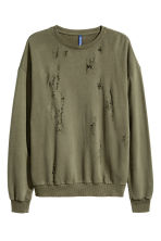 Trashed sweatshirt - Khaki green - Men | H&M 2