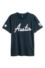 Printed T-shirt - Dark blue - Men | H&M CN 2
