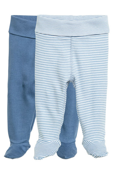 2-pack trousers with feet - Blue -  | H&M