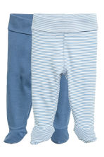 2-pack trousers with feet - Blue -  | H&M CN 1