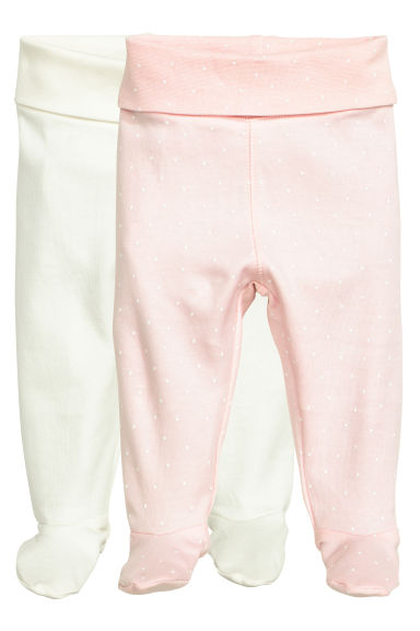 2-pack trousers with feet - Light pink/Spotted -  | H&M CN 1