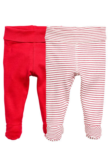 2-pack trousers with feet - Red - Kids | H&M 1