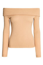 Off-the-shoulder top - Beige - Ladies | H&M CN 2