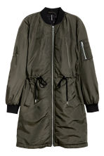 Long bomber jacket - Dark khaki green - Ladies | H&M GB 2