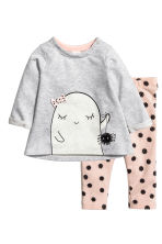 Top and leggings - Light grey/Ghost - Kids | H&M CN 1