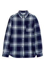 Cotton shirt - Dark blue/Checked - Kids | H&M CN 2