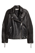 Leather biker jacket - Black - Ladies | H&M GB 2