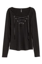 Top with lacing - Black - Ladies | H&M GB 2