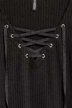 Top with lacing - Black - Ladies | H&M GB 3