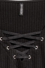Top with lacing - Black - Ladies | H&M GB 4