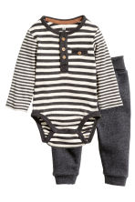 Bodysuit and trousers - Dark grey/Striped -  | H&M CN 1