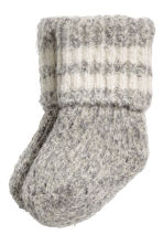Thick wool-blend socks - Grey marl - Kids | H&M GB 1