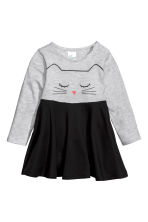 Printed jersey dress - Light grey/Cat  - Kids | H&M CN 1