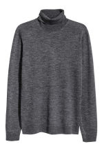 Merino wool polo-neck jumper - Dark grey marl - Men | H&M GB 2
