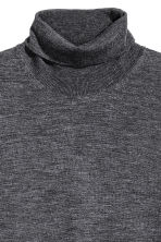 Merino wool polo-neck jumper - Dark grey marl - Men | H&M GB 3