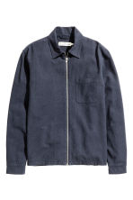 Linen-blend shirt jacket - Dark blue - Men | H&M CN 2