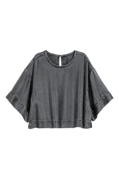 Top oversize in lyocell - Nero Washed out - DONNA | H&M CH