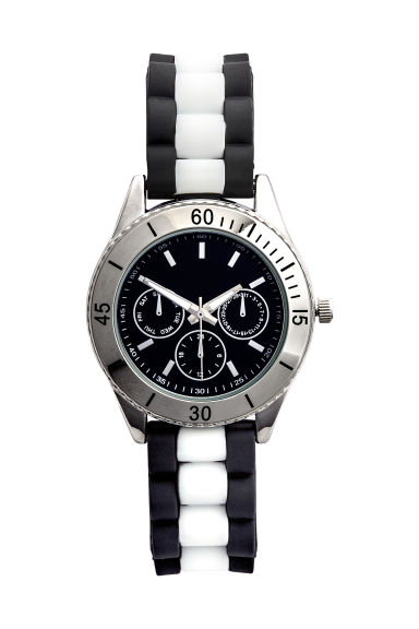 Watch with a silicone strap - Black/White - Ladies | H&M CN 1
