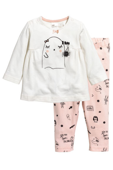 Dress and leggings - White/Ghost - Kids | H&M CN 1