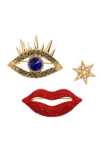 3-pack brooches - Gold/Red - Ladies | H&M CN 1