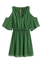 Cold shoulder dress - Emerald green - Ladies | H&M CN 2