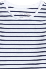 Long-sleeved jersey top - White/Dark blue/Striped - Ladies | H&M CN 3