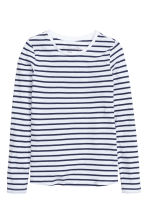 Long-sleeved jersey top - White/Dark blue/Striped - Ladies | H&M CN 2
