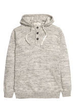 Knitted hooded jumper - Grey marl - Men | H&M CN 1