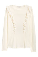 Frilled top - Natural white - Ladies | H&M CN 2