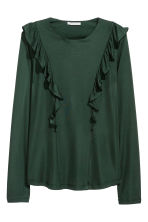 Frilled top - Dark green - Ladies | H&M CN 1