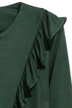 Frilled top - Dark green - Ladies | H&M CN 2