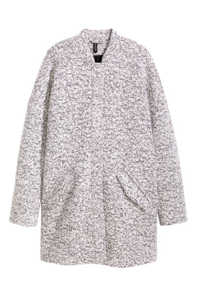 Coat in bouclé yarn - Grey marl - Ladies | H&M