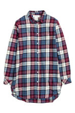 Long flannel shirt - Burgundy/Checked - Ladies | H&M CN 2