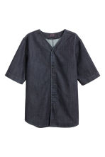 Denim baseball shirt - Dark denim blue - Men | H&M CN 2