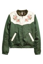 Embroidered bomber jacket - Green - Ladies | H&M GB 2