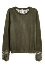 Jumper with lace details - Dark khaki green -  | H&M CN 2
