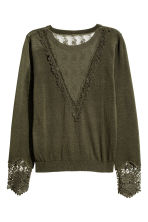 Jumper with lace details - Dark khaki green -  | H&M CN 3