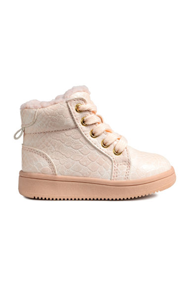 Pile-lined hi-top trainers - Powder pink -  | H&M CN