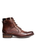 Leather double-shaft boots  - Dark cognac brown -  | H&M CN 1
