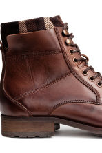 Leather double-shaft boots  - Dark cognac brown -  | H&M CN 4